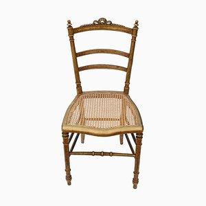 Antiker viktorianischer Beistellstuhl aus vergoldetem Schilfrohr mit Intarsien