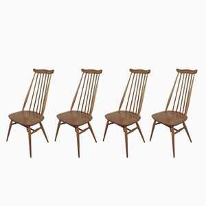 Mid-Century 369 Goldsmith Blonde High Back Dining Chairs from Ercol, Set of 4