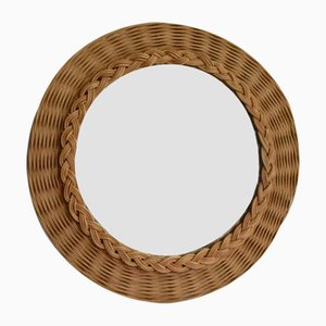 Round Vintage Wicker Mirror