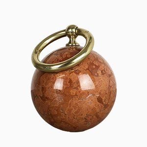 Hollywood Regency Solid Red Marble Door Stopper, 1970s