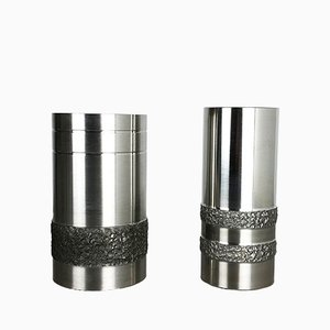 German Brutalist Steel Vases, 1970s, Set of 2