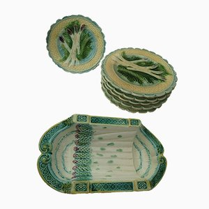 Barbotine Asparagus Service Set from Les Salins, 1900s