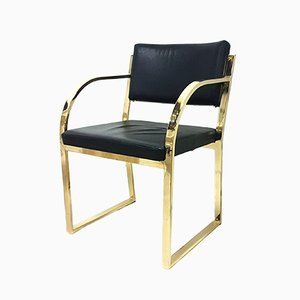 Brass and Leatherette Dining Chair, 1970s