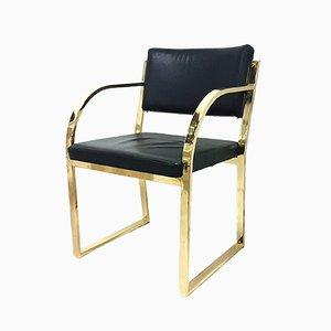 Esszimmerstuhl mit Gestell aus Messing & Sitz aus Leder, 1970er