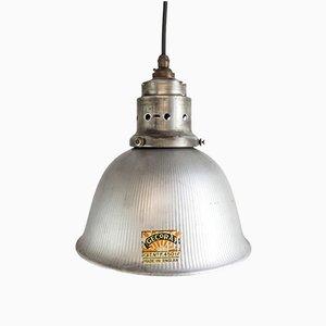 Lámpara colgante Gecoray en forma de campana con pantalla de vidrio de GEC, años 40