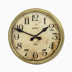 Industrial Factory Brass Wall Clock from Magneta, 1940s