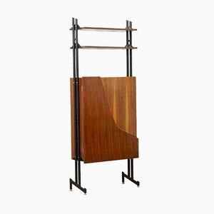 Mueble escandinavo de teca y formica con puertas curvas, años 60