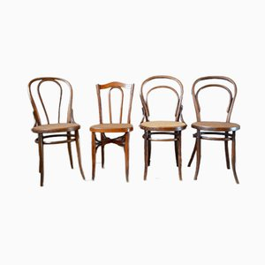 Curved Wood Bistro Chairs, 1920s, Set of 4