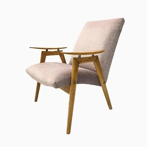 Vintage Violet Velvet & Bentwood Armchair from TON, 1960s