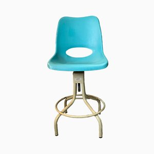 Vintage Industrial Turquoise Swivel Chair from Evertaut, 1970s