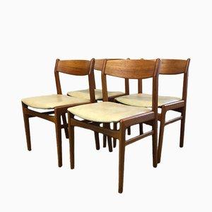 Sedie da pranzo in metallo di Erik Kirkegaard per Høng Sfabrik, Danimarca, anni '50, set di 4