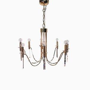 Lámpara de araña Hollywood Regency con ocho brazos, años 70