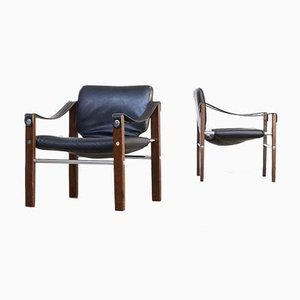 Black Leather Chelsea Safari Chairs by Maurice Burke for Pozza, 1970s, Set of 2