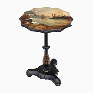 Antique Papier Mache Tilt Top Side Table