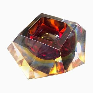 Red Sommerso Murano Glass Ashtray from Seguso, 1970s