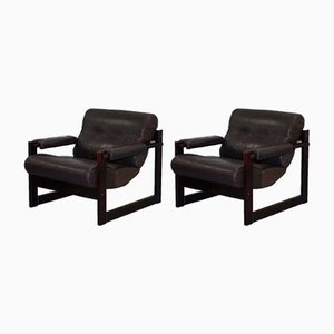 Mid-Century Brazilian Wood & Leather Armchairs by Percival Lafer, 1975, Set of 2