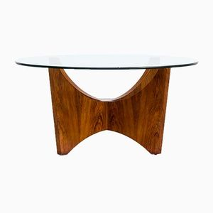 Round Wood Framed Coffee Table, 1970s