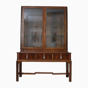 Large French Art Deco Walnut Display Cabinet, 1930s