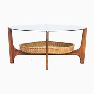 Table Basse Ronde en Teck, 1970s