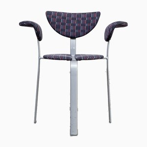 Metal and Fabric Chairs from BKS Denmark, 1980s, Set of 3