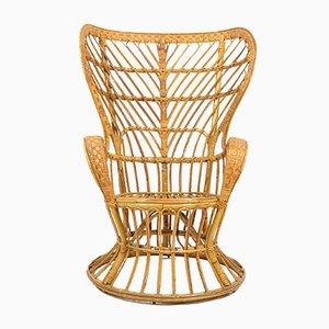 Rattan Wingback Armchair by Gio Ponti & Lio Carminati for Bonacina, 1950s