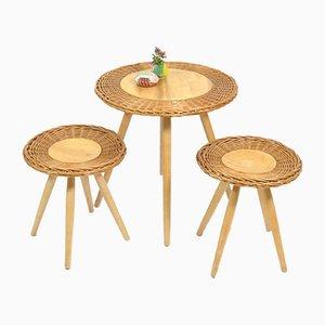 Table Basse et 2 Tabourets en Rotin de Úluv, 1970s