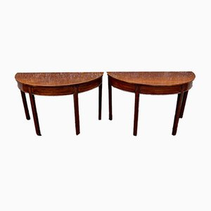Antique Georgian English Mahogany Demi-Lune Console Tables, Set of 2