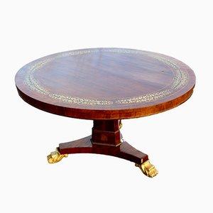 Runder antiker englischer Regency Tisch mit Intarsien aus Messing