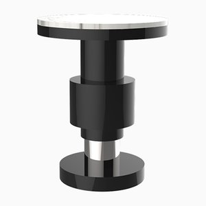Kalista Variation 1 Side Table with Silver Band & White Top from CASALTO