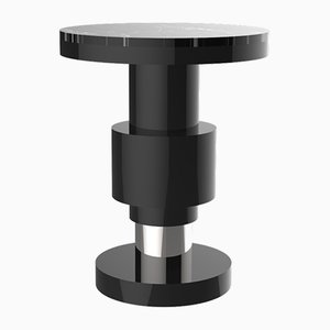 Kalista Variation 1 Side Table with Silver Band & Black Top from CASALTO