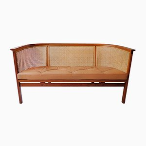 Mahogany, Cane & Leather Sofa by Rud Thygesen & Johnny Sørensen for Botium, 1970s