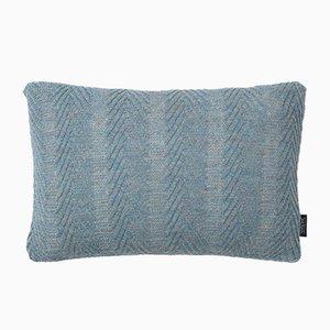 Blaues antikes Kissen mit Fischgrätenmuster von Louise Roe