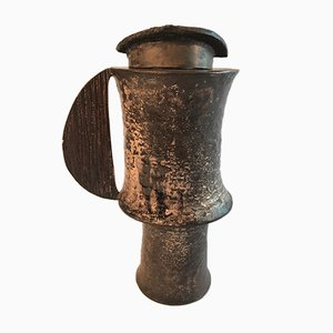 Vase Brutaliste en Bronze par Lorenzo Burchiellaro, Italie, 1960s