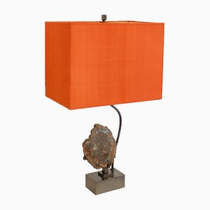 Lámpara vintage de madera petrificada y piedra de Willy Daro