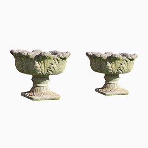 Antique Style Cast Stone Planter Urns, 1980s, Set of 2