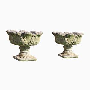 Steinerne antike Pflanzer oder Urnen, 1980er, 2er Set