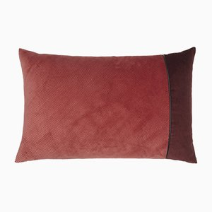 Pink & Bordeaux Corduroy Edge Cushion by Louise Roe