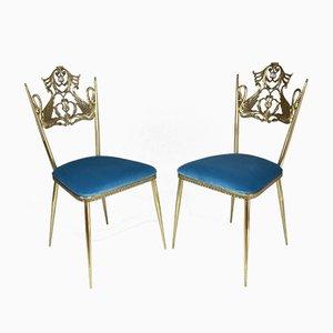 Italienische Vintage Swan Chairs aus Messing, 1950er, 2er Set