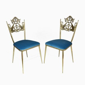 Vintage Italian Brass Swan Chairs, 1950s, Set of 2