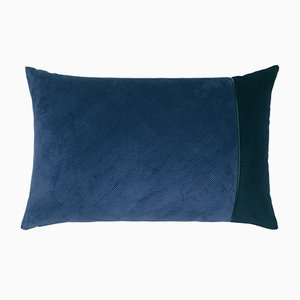 Coussin en Velours Côtelé Bleu par Louise Roe