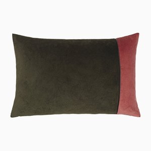 Army Green & Pink Corduroy Edge Cushion by Louise Roe