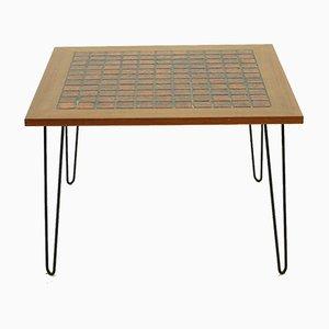 Mesa de centro de teca y cerámica con patas de horquilla, años 60