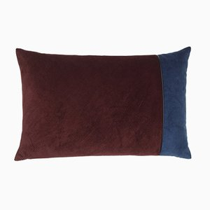Bordeaux & Blue Corduroy Edge Cushion by Louise Roe