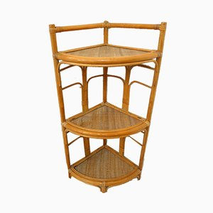 Vintage Wicker & Rattan Corner Shelf with 3 Levels