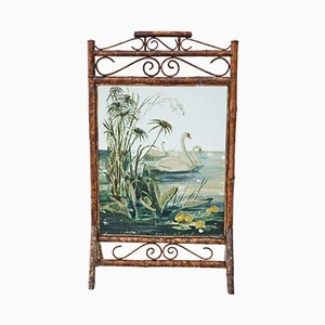 Antique Victorian Bamboo Fire Screen