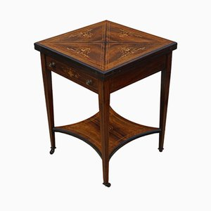 Tavolo da gioco vittoriano antico in legno di palissandro intarsiato