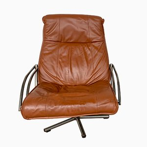 Vintage Armlehnstuhl aus Leder & Chrom von Kebe