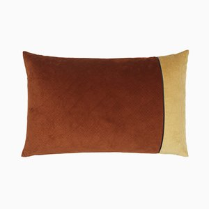 Brown & Beige Corduroy Edge Cushion by Louise Roe
