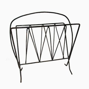 Mid-Century French Wrought Iron Magazine Rack