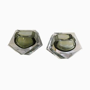 Mid-Century Sommerso Faceted Murano Glass Ashtrays, Set of 2